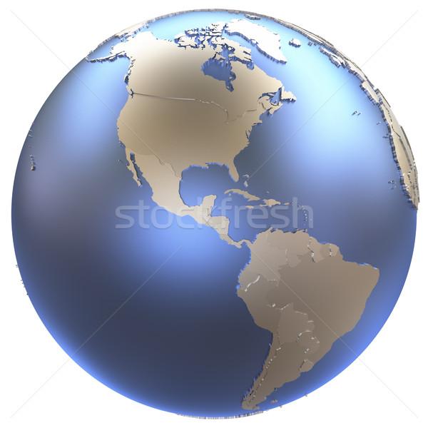 Americas on metallic Earth Stock photo © Harlekino