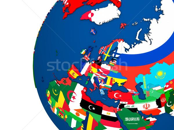 Politikai Európa térkép vidék zászló 3d illusztráció Stock fotó © Harlekino