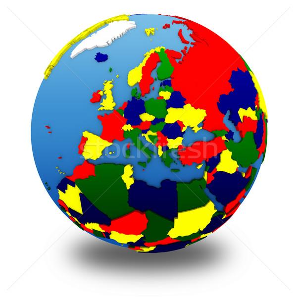 Europe politique modèle terre 3D continents Photo stock © Harlekino
