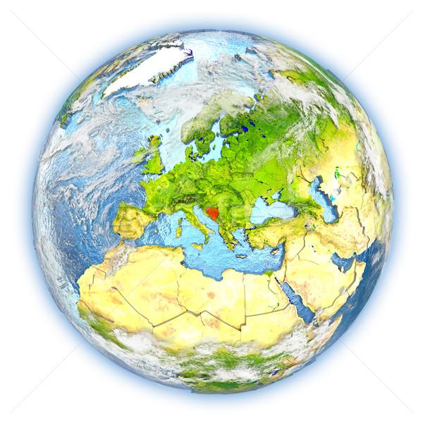 Tierra aislado rojo planeta tierra 3d blanco Foto stock © Harlekino