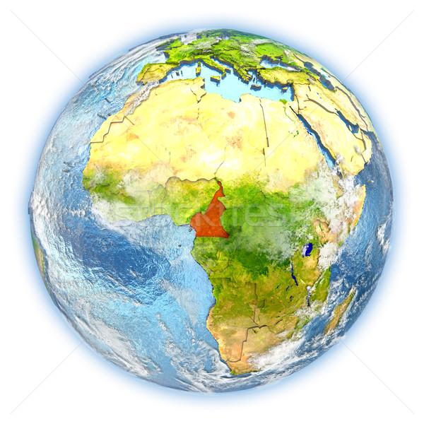Camarões terra isolado vermelho planeta terra ilustração 3d Foto stock © Harlekino
