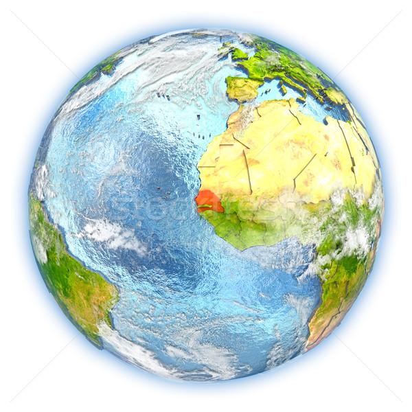 Senegal Erde isoliert rot Planeten Erde 3D-Darstellung Stock foto © Harlekino