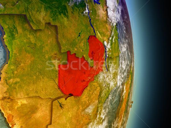 Zambiya kırmızı uzay model yörünge 3d illustration Stok fotoğraf © Harlekino