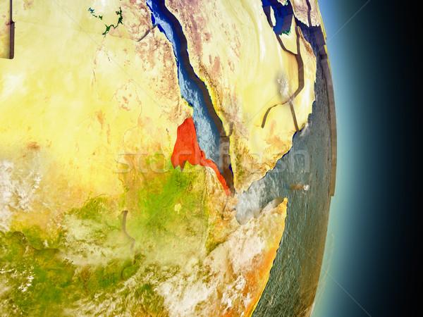 Эритрея красный пространстве модель орбита 3d иллюстрации Сток-фото © Harlekino