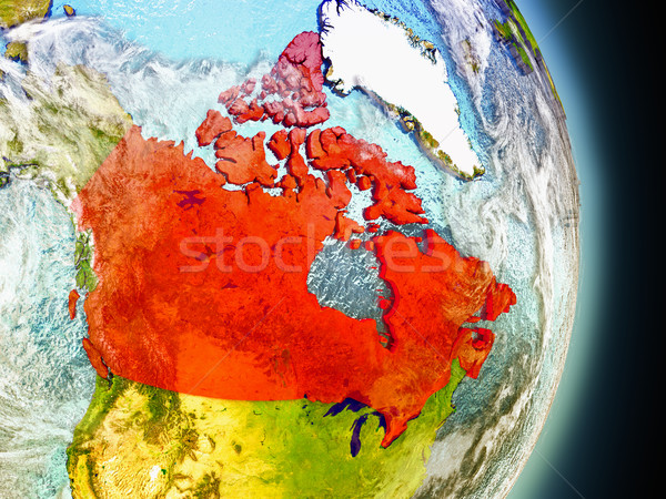 Canada in red from space Stock photo © Harlekino