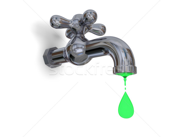 Víz szennyezés illusztráció vízcsap zöld izolált Stock fotó © Harlekino