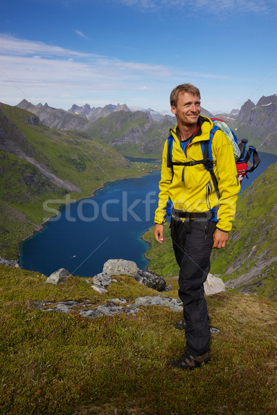 Norway with backpack Stock photo © Harlekino