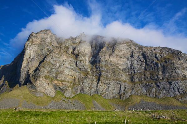 Scénique plage Norvège montagne Photo stock © Harlekino