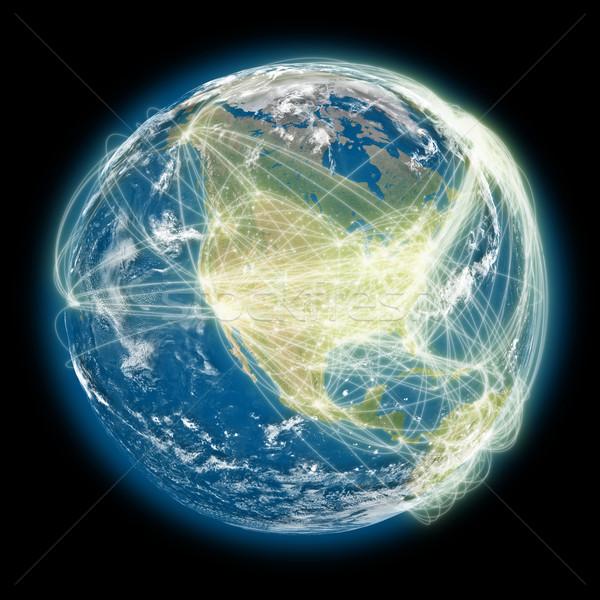 Connected world North America view Stock photo © Harlekino