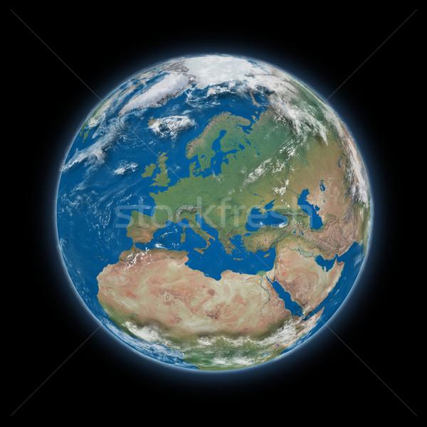 Европа планете Земля синий изолированный черный Сток-фото © Harlekino