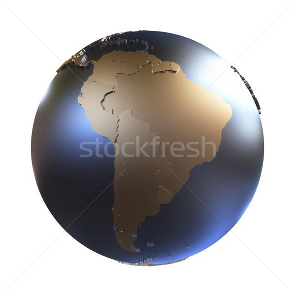 South America on golden metallic Earth Stock photo © Harlekino