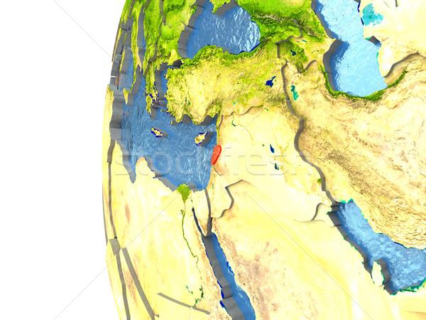 Libanon piros földgömb tükröződő óceán 3d illusztráció Stock fotó © Harlekino