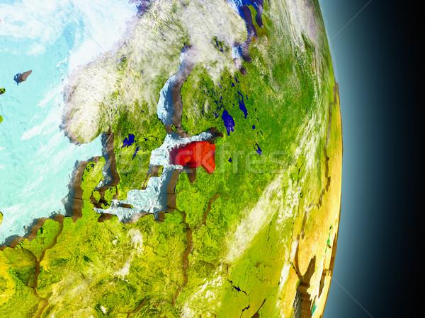 エストニア 赤 スペース モデル 軌道 3次元の図 ストックフォト © Harlekino