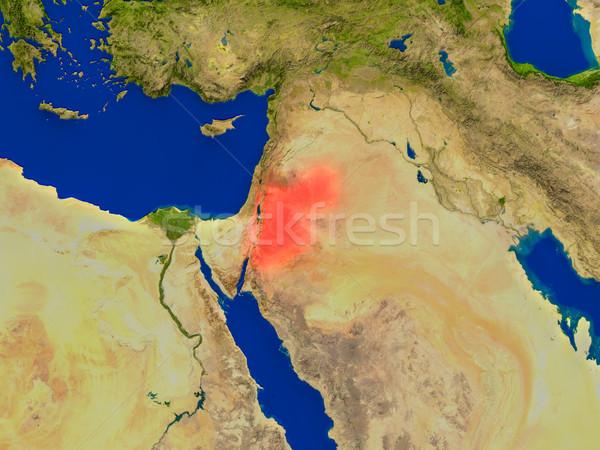 Przestrzeni czerwony widoku orbita 3d ilustracji wysoko Zdjęcia stock © Harlekino