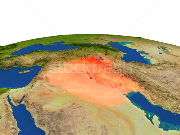 Iraq in red from orbit Stock photo © Harlekino