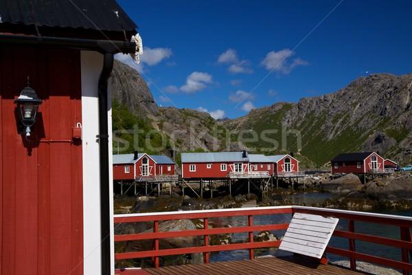 Norwegian fishing village Stock photo © Harlekino