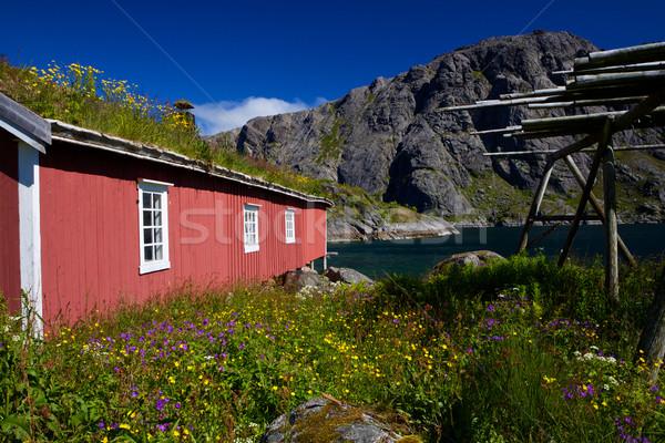 Norwegian rorbu fishing hut Stock photo © Harlekino