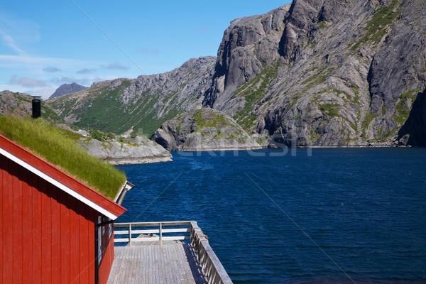 Traditional norwegian fishing house Stock photo © Harlekino