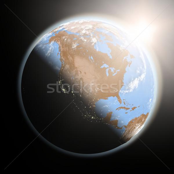Stockfoto: Zonsopgang · noorden · amerika · ruimte · zon
