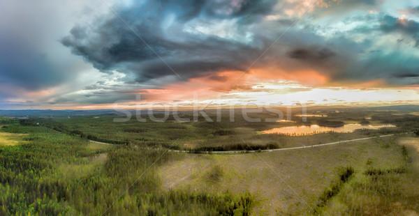 Tempestade Suécia panorama pôr do sol Foto stock © Harlekino