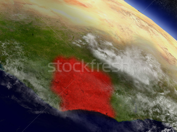 Ivory Coast from space highlighted in red Stock photo © Harlekino