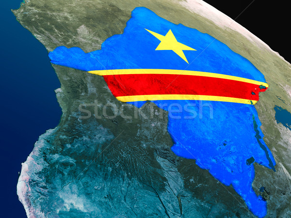 Flag of Democratic Republic of Congo from space Stock photo © Harlekino