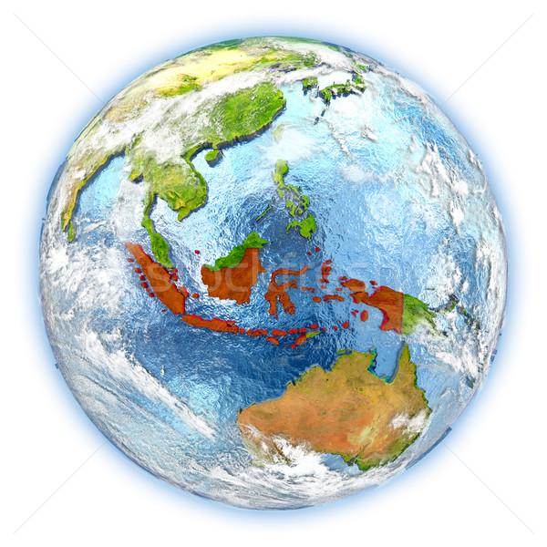 Индонезия земле изолированный красный планете Земля 3d иллюстрации Сток-фото © Harlekino