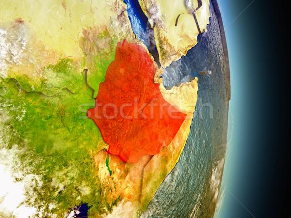 Эфиопия красный пространстве модель орбита 3d иллюстрации Сток-фото © Harlekino