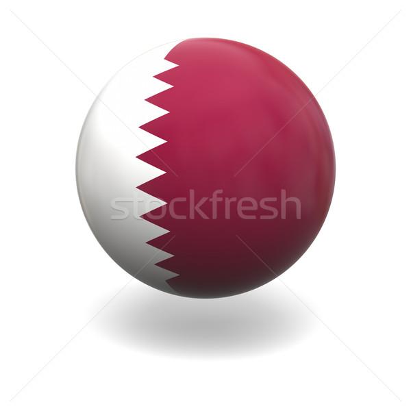 Catar bandeira esfera isolado branco gráficos Foto stock © Harlekino
