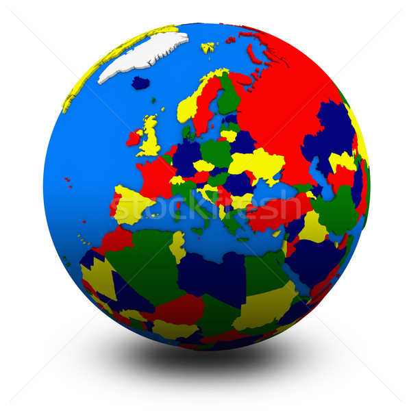 Europa politiek wereldbol illustratie geïsoleerd witte Stockfoto © Harlekino