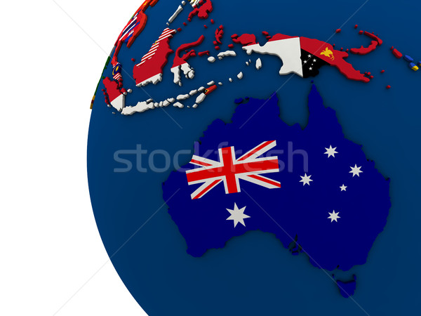 Politiek Australië kaart land vlag 3d illustration Stockfoto © Harlekino