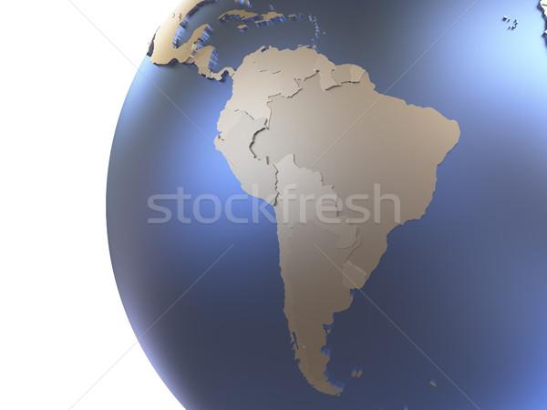 Dél-amerika fémes Föld modell Föld kontinensek Stock fotó © Harlekino