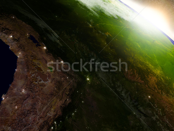 Bolivia from space during sunrise Stock photo © Harlekino