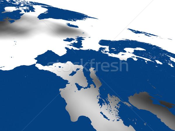 ヨーロッパの 大陸 青 地図 ソフト 影 ストックフォト © Harlekino