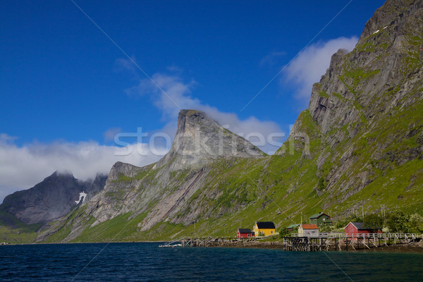 Fjord on Lofoten islands Stock photo © Harlekino