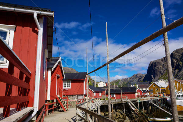 рыбалки традиционный старые красный живописный деревне Сток-фото © Harlekino
