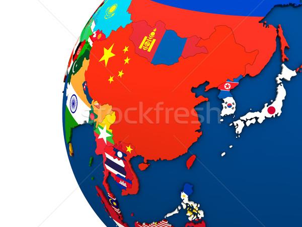 Politico Asia mappa paese bandiera illustrazione 3d Foto d'archivio © Harlekino