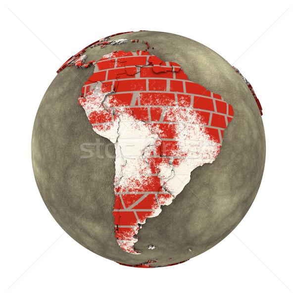 Güney amerika tuğla duvar toprak model dünya gezegeni kıtalar Stok fotoğraf © Harlekino