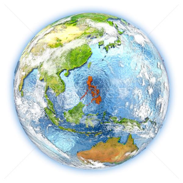 フィリピン 地球 孤立した 赤 地球 3次元の図 ストックフォト © Harlekino