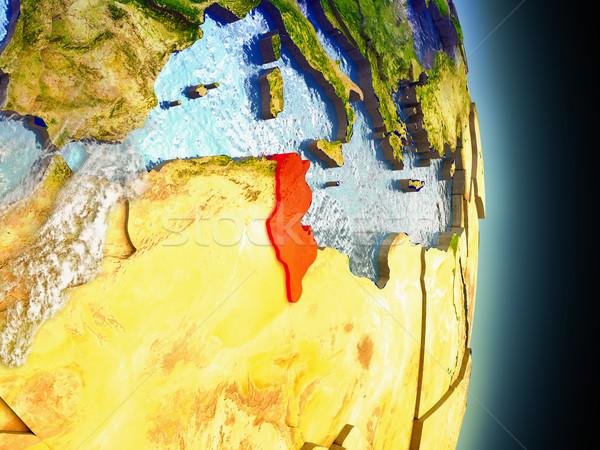 Tunisia in red from space Stock photo © Harlekino