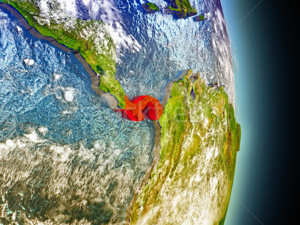 Czerwony przestrzeni model orbita 3d ilustracji wysoko Zdjęcia stock © Harlekino
