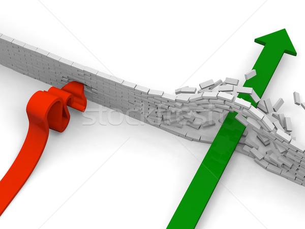 Obstáculo flecha otro uno pared ladrillos Foto stock © Harlekino