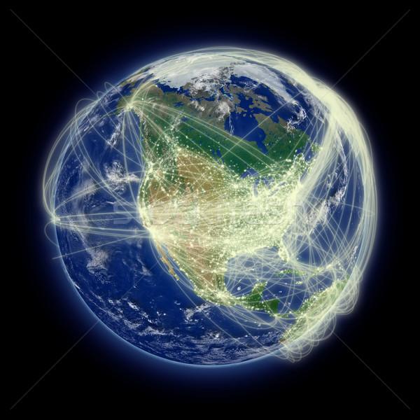 Network over North America Stock photo © Harlekino