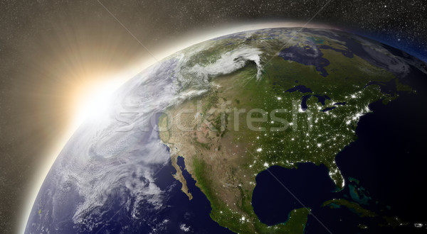 Stock photo: Sun over North America