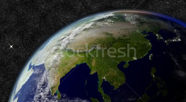 Ázsia űr elemek kép felhők térkép Stock fotó © Harlekino