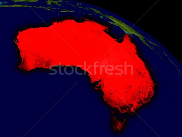 Australien Raum rot 3D-Darstellung sehr detaillierte Stock foto © Harlekino
