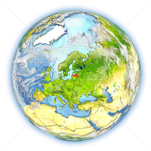 Letland aarde geïsoleerd Rood aarde 3d illustration Stockfoto © Harlekino