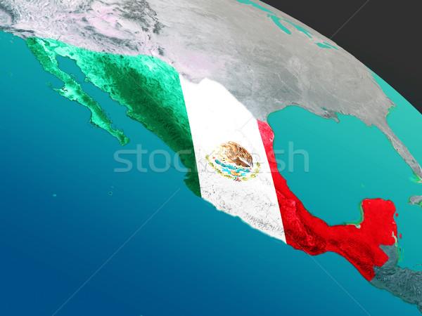 Foto stock: Bandeira · espaço · ilustração · 3d · detalhado