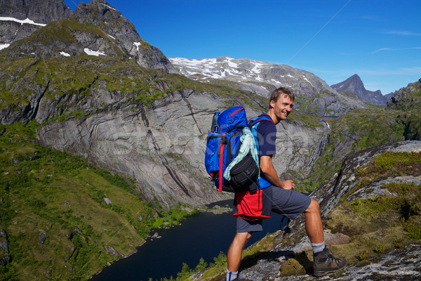 Backpacking in Norway Stock photo © Harlekino