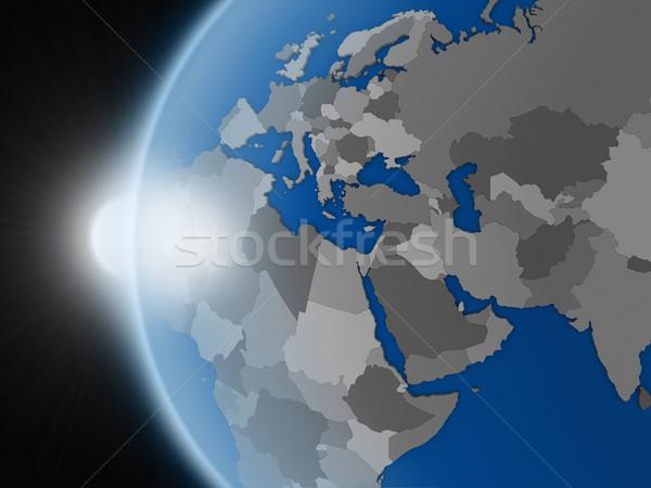 Puesta de sol región espacio planeta tierra político Foto stock © Harlekino
